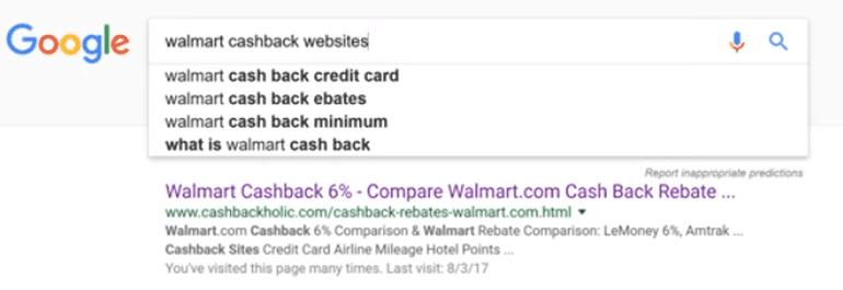 google search result, cashback websites
