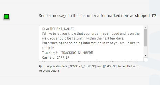 Auto message on dsm item shipped