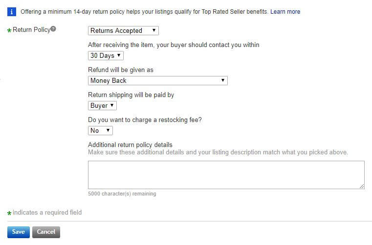 Creating return policies on eBay