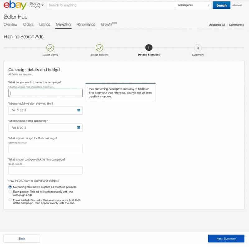 Sponsored ads on eBay