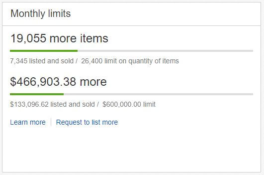 eBay selling limits