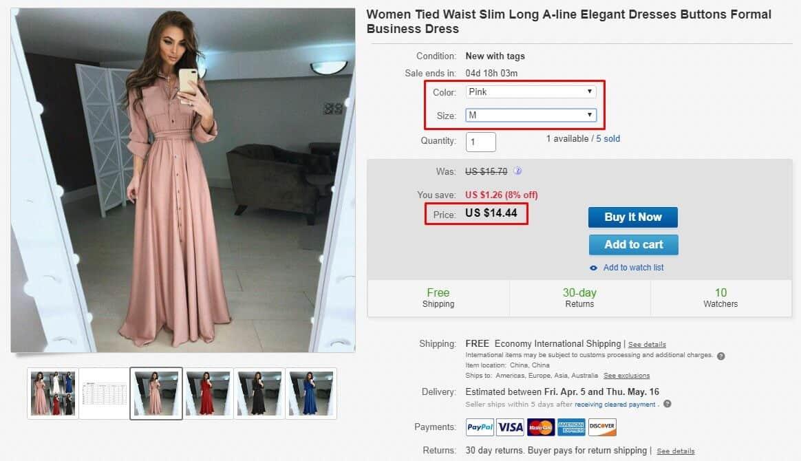 elegant dress price and variations