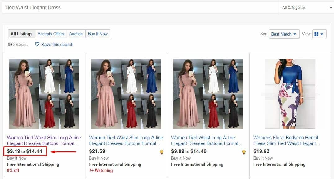 elegant dress different prices