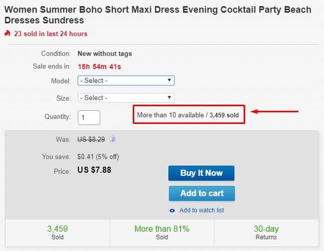 ebay product availability