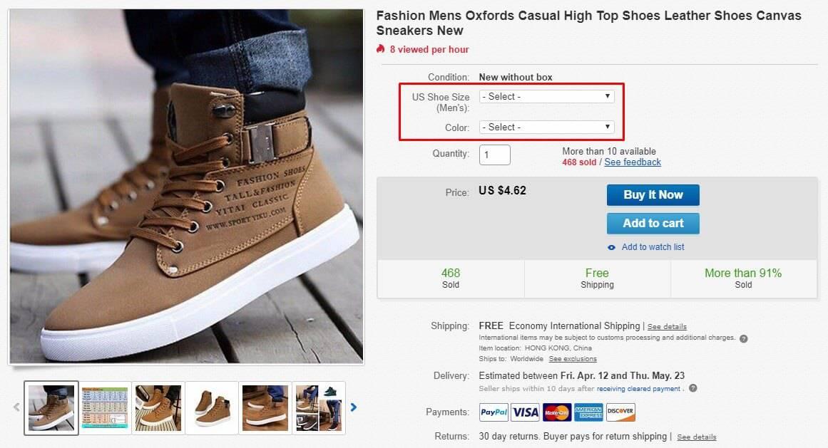 fashion shoes listing