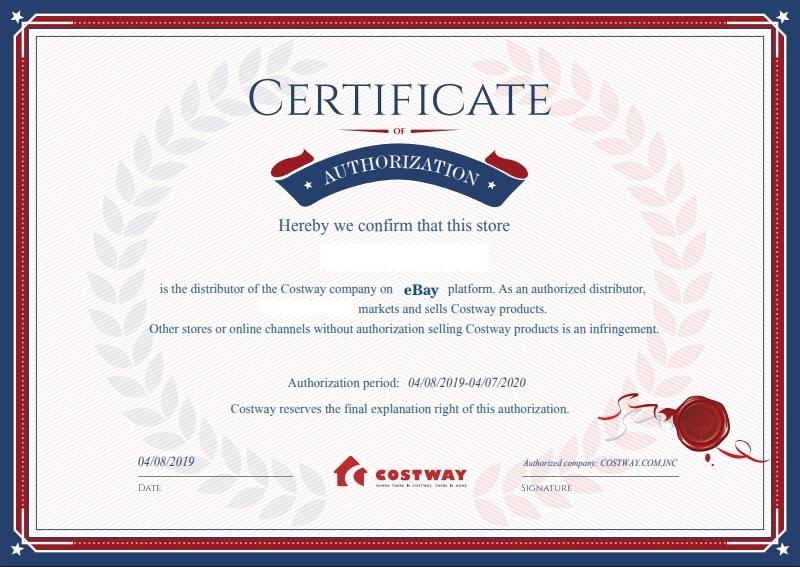 Autorización de certificado de Costway