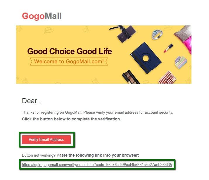 Gogomall verifica la dirección de correo electrónico